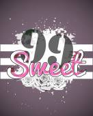 Sweet print and 99 numbers on dark background