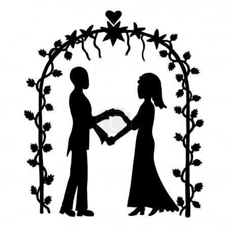 Illustration for Ink image of couple getting married on outdoor wedding ceremony - Royalty Free Image