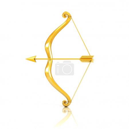 Photo pour 3D illustration de doré arc et flèche - image libre de droit
