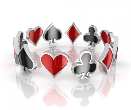 Photo pour Cartes à jouer symboles 3d - cœurs, clubs, diamants et piques - image libre de droit