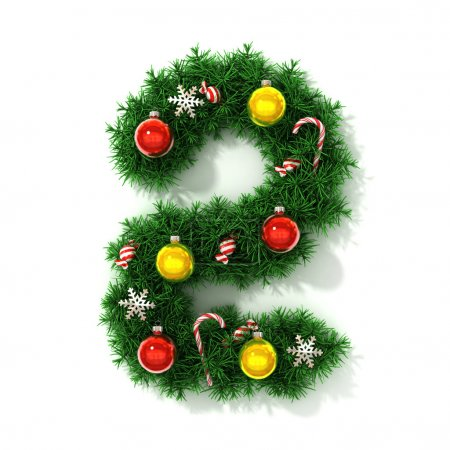 Photo for Christmas tree font number 2 isolated 3d illustration - Royalty Free Image