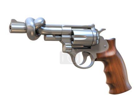 Photo pour Pistolet attaché dans une illustration 3d noeud isolé - image libre de droit