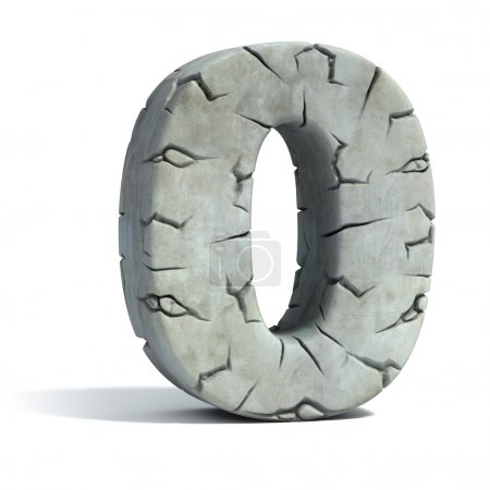 Number 0 cracked stone 3d font