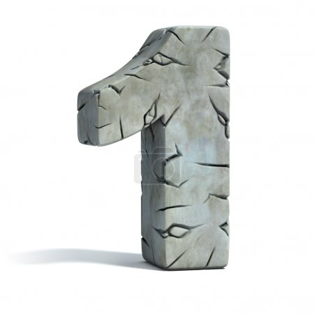 number 1 cracked stone 3d font