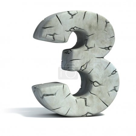 Number 3 cracked stone 3d font