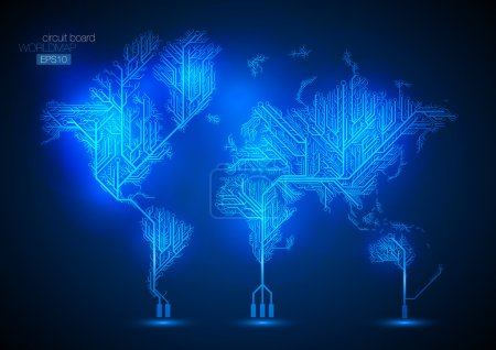 Circuit board world map vector background.
