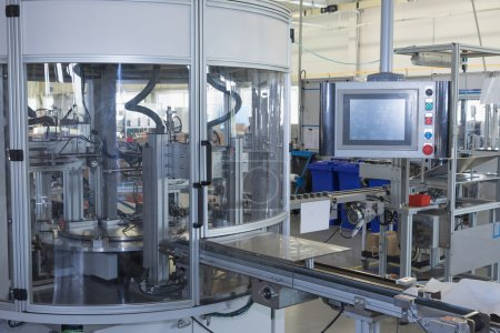 Photo pour General view of the automatic production line with a control panel. All potential trademarks are removed. - image libre de droit