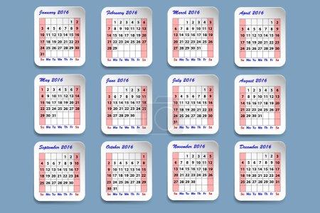 Calendar for 2016 year
