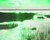 Original oil painting showing beautiful lake