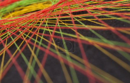 Display of colorful threads