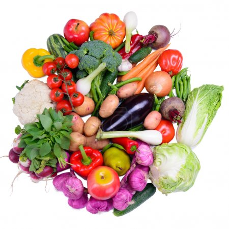 different ripe vegetables isolated