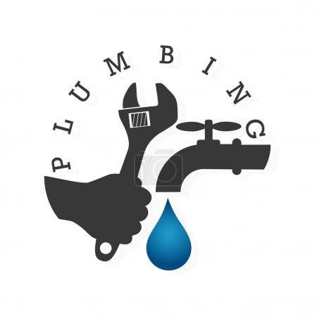 Illustration for Service and repair of plumbing and water supply systems - Royalty Free Image