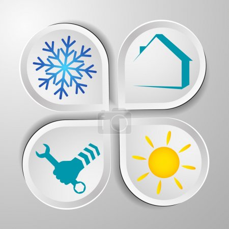 Illustration for Air conditioner repair symbols for the business, vector - Royalty Free Image