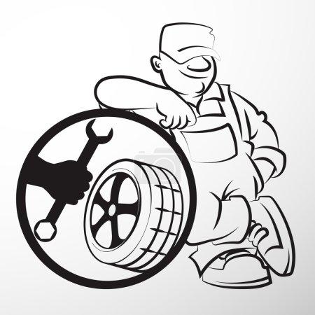 Illustration pour La silhouette de pneu réparateur Business - image libre de droit