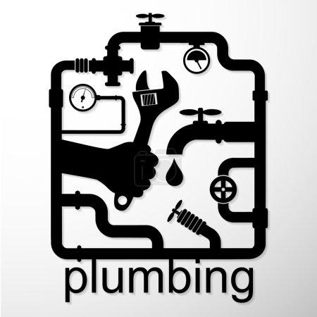 Illustration pour Entreprise de conception de réparation de plomberie, vecteur - image libre de droit