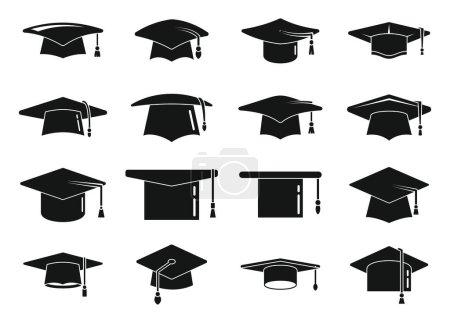 Illustration for School graduation hat icons set simple vector. Academy celebration, Ceremony cap - Royalty Free Image