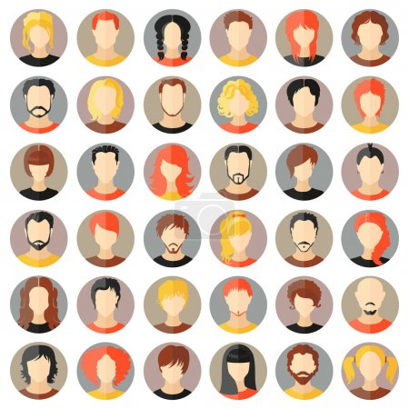 Illustration for Set of stylish avatars of girls and guys in flat design. Vector illustration - Royalty Free Image