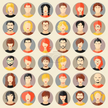 Illustration for Set of stylish avatars of girls and guys in flat design. Vector illustration - Royalty Free Image
