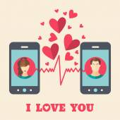 Valentine's day card with man and woman avatars on smartphone displays in flat style Vector illustration