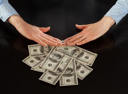 Human hands rejecting  of money