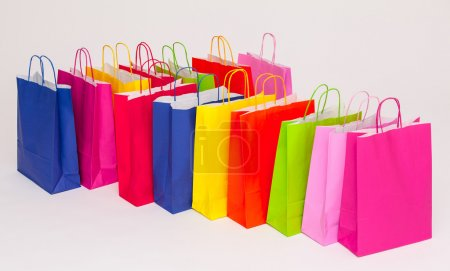 Multicolored paper bags