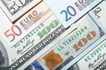 Euro and dollars currency