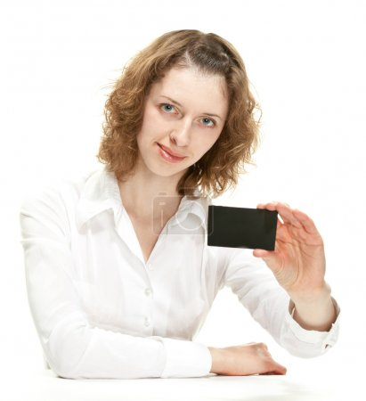Woman showing black card