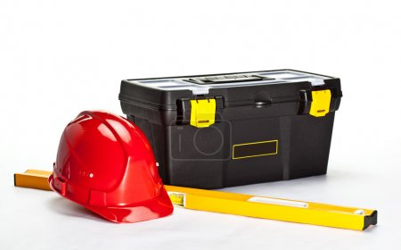 Toolbox, level and hardhat
