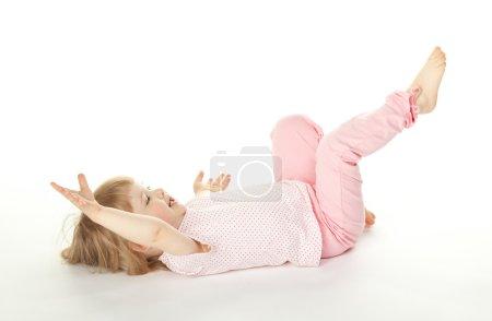 Girl having fun on the floor