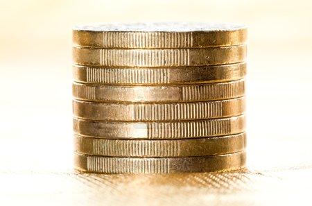 column of euro coins