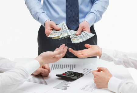 Business partners demanding money from boss, white...