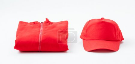 Red casual jacket and cap