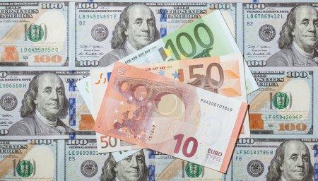 Many euro and dollar banknotes