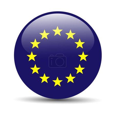 Drapeau de l'Union européenne sous forme d'icône brillant rond