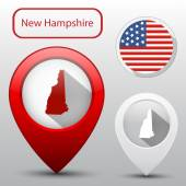 Set of New Hampshire state with flag america and map pointer