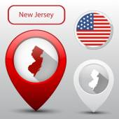 Set of New Jersey state with flag america and map pointer