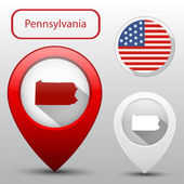 Set of Pennsylvania state with flag america and map pointer