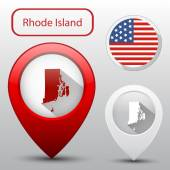 Set of Rhode Island state with flag america and map pointer