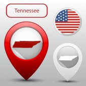 Set of Tennessee state with flag america and map pointer