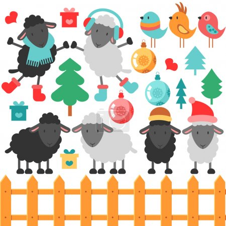 Illustration for Set of cute sheep and christmas elements, vector illustration - Royalty Free Image