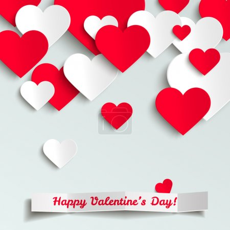 Illustration for Valentine vector illustration, red and white paper hearts on white background, greeting card - Royalty Free Image