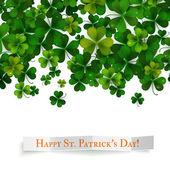 Saint Patricks Day vector background realistic shamrock leaves