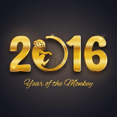 New 2016 Year monkey symbol postcard