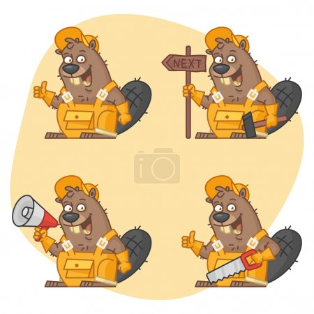 Illustration for Vector illustration, Beaver Master in Different Versions Part 2, format EPS 8 - Royalty Free Image