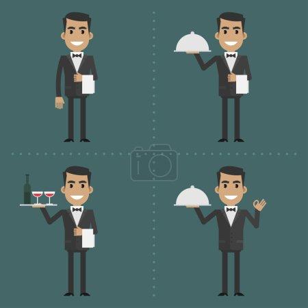 Illustration pour Illustration, serveur adulte montre des gestes et tient des ustensiles, format EPS 8 - image libre de droit