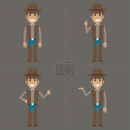Cowboy indicates in various poses