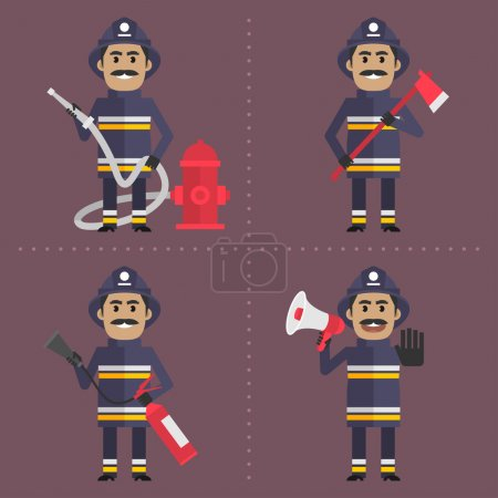 Illustration for Illustration, firefighter in various poses holding tool, firefighter with hose, firefighter with ax, firefighter with fire extinguisher, firefighter with megaphone, format EPS 8 - Royalty Free Image