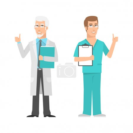 Males scientist and doctor showing thumbs up