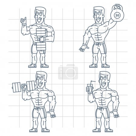Doodle bodybuilder holding kettlebell dumbbell cocktail