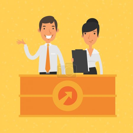 Illustration for Illustration, man and woman manager and reception, format EPS 8 - Royalty Free Image